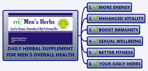 Daily Herbal Supplement for Men's Health, Enhancing Energy & Immunity, Boosting Sex and Vigor